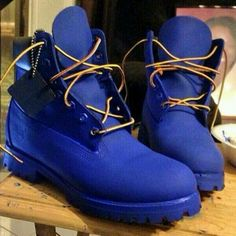 Men's Fashion: Blue Timberland Boots I need these in my life,
