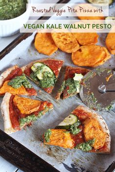 This Roasted Veggie Pita Pizza with Vegan Kale Walnut Pesto is simple to make and can be easily customized for a nutritious and flavourful dinner.