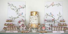 Beautiful Gold, Bird and Flowers Inspired Dessert Table | Cupcake
