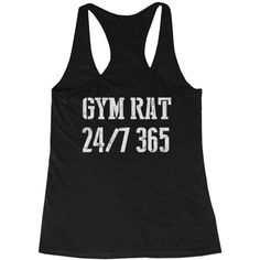 Gym Rat 24/7 365 Back Print Women's Workout Tank Top Sleeveless Sports... ($15) ❤ liked on Polyvore featuring activewear, activewear tops and sports activewear