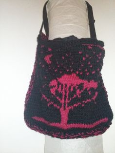 knitted messenger bag with the tree of life by AtticDisir on Etsy