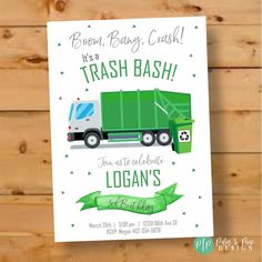 66 ideas for garbage truck birthday party invitations Third Birthday, 3rd Birthday Parties, Birthday Ideas, Garbage Truck Party, Trash Party, Recycling, Boy Birthday Invitations, Construction Birthday, Trucks