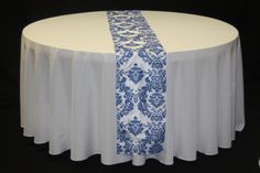 Royal Blue Damask Table Runner - Hampton Roads Wedding and Event Rentals
