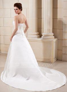 A-Line/Princess Sweetheart Chapel Train Satin Wedding Dress With Ruffle Beading (002000686) - JJsHouse