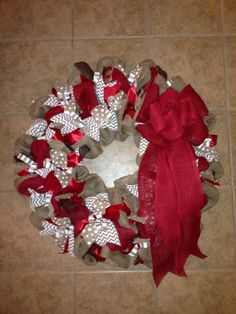 plain burlap, white dots, gray zigzag, red burlap, and another type of ribbon.