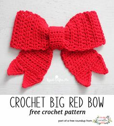 Crochet this christmas big red bow from Repeat Crafter Me from my last minute christmas free pattern roundup! Crochet this christmas big red bow from Repeat Crafter Me from my last minute christmas free pattern roundup! Crochet Christmas Ornaments, Holiday Crochet, Christmas Bows, Crochet Home, Diy Crochet, Crochet Gifts, Crochet Baby, Christmas Patterns, Christmas Decor