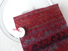 Wool Pot Holders Hot Pads CRANBERRY RED Fair Isle by WormeWoole