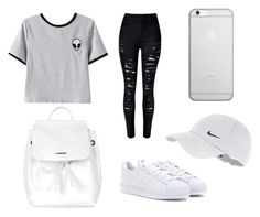 whité by auliaarist on Polyvore featuring polyvore, мода, style, Chicnova Fashion, WithChic, adidas, Topshop, Native Union, NIKE, fashion and clothing
