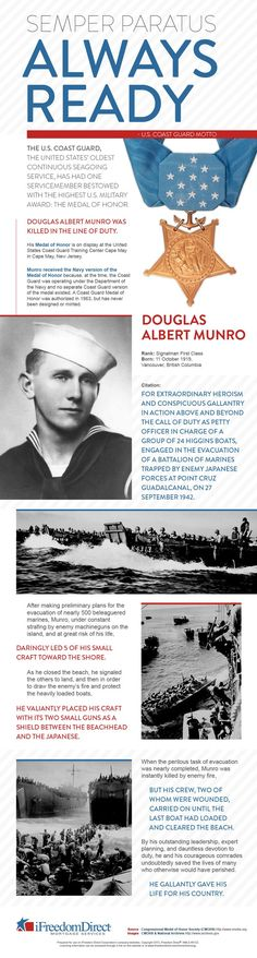 Medal of Honor; Guadalcanal - only Coast Guard member to ever receive the Medal of Honor. Awarded for sacrificing his life for the lives of Marines.