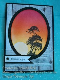 Stampin' Up! Serene Silhouettes, Adventure Bound dsp & Sponging.
