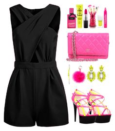 """""""Neon party"""" by teryblueberry ❤ liked on Polyvore featuring The Highest Heel, KAOS, RAJ, Elizabeth Cole, Givenchy, Topshop, MAC Cosmetics and Jacki Design"""