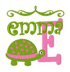 Turtle Cutie Machine Embroidery Monoram Font by JoyfulStitchesEtsy