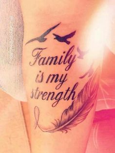 Family is strength not as big w anchor instead of feather