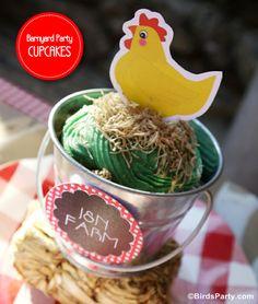 shredded wheat hay - Bird's Party Blog: Cake it Pretty: Barnyard Party - Farm Animal Cupcake Pails