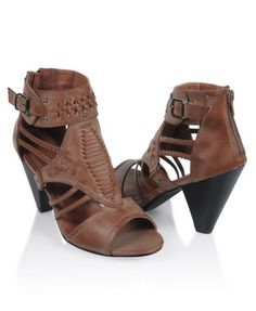 Strappy Leatherette Cone Heels #brown #boots #shoes