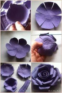 Comment recycler une boîte d'oeufs ? Un DIY déco pour fabriquer une fleur de papier super facilement.