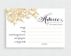 Printable Fill in the Blank Wedding Advice Cards for Weddings