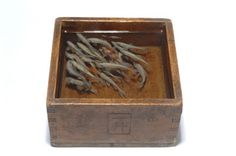 Sculpture by Riusuke Fukahori. Wooden box, painted fish, cast resin.