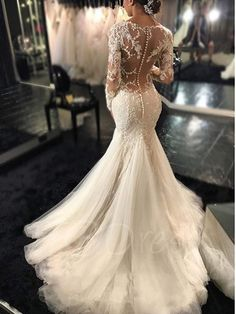 Gauze Scoop Neck Long Sleeves Lace Appliques Court Train Mermaid Wedding Dress