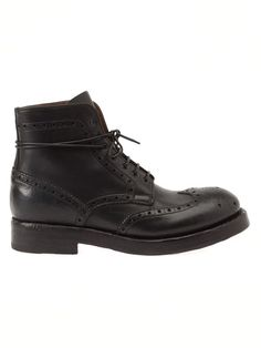 $643, Black Leather Brogue Boots: Officine Creative Brogued Boots. Sold by farfetch.com. Click for more info: http://lookastic.com/men/shop_items/93630/redirect