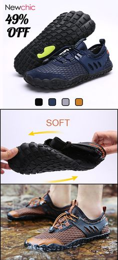 7ce7fa928d0bf  49%off Large Size Men Mesh Slip Resistant Outdoor Hiking Wading Water Shoes