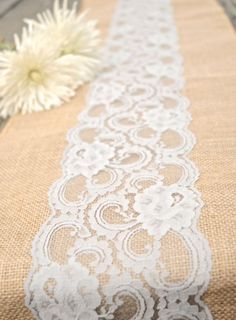 Lace and burlap make for an easy, budget friendly, and gorgeous rustic wedding table decor DIY burlap square w/ lace on top for center piece