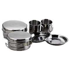 Amazon.com : BeGrit Backpacking Camping Cookware Picnic Cooking Cook Set for Hiking (8pcs/set, 410 Stainless Steel) : Sports & Outdoors