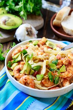 Avocado Shrimp and Tequila Fettuccine, inspired by Iron Chef Cat Cora's cooking demonstration while onboard with Princess Cruises!