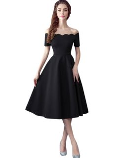 The dress is featuring solid color, scalloped trim, off the shoulder design and on an A-line silhouette.