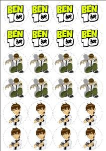 BEN 10 24 RICE PAPER FAIRY CAKE TOPPERS