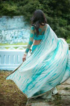 Light blue and aqua saree Indian Dresses, Indian Outfits, Indian Clothes, Indian Attire, Indian Wear, Blouse Patterns, Blouse Designs, Sari Blouse, Fashion Gallery