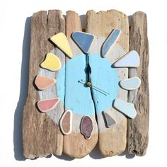 driftwood and potery from the sea clock - orologio con legni e mattonelle trovate a mare