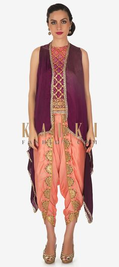 Peach and pink shaded bandhani top in georgette. Armhole is embellished in resham and zari work. Matched with fancy embroidered dhoti pants in peach. Kimono Top, Cover Up, Peach, Sequins, Satin, Fancy, Queen, Wine, Crop Tops