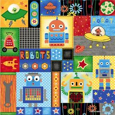 Fabric... Run Run Robot Patch Work by Quilting Treasures REMNANT (31 X 44)
