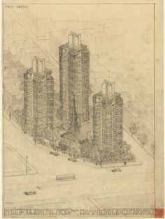 Never Built New York: Projects From Gaudí, Gehry and Wright that Didn't Make it in Manhattan,Frank Lloyd Wright's drawings for the project. Image © MoMA/Frank Lloyd Wright Foundation