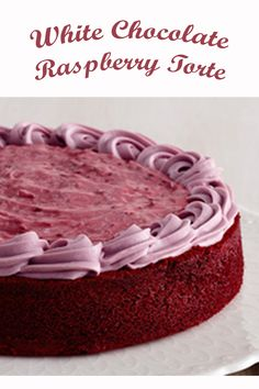As if red velvet cake wasn't decadent enough, this delicious torte is topped with a white chocolate raspberry frosting. Mothers Day Desserts, Valentines Day Desserts, Desserts To Make, Delicious Desserts, Raspberry Torte, Raspberry Frosting, White Chocolate Raspberry, White Chocolate Chips, Round Cake Pans