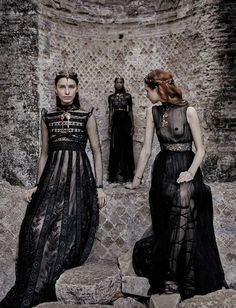 Leila Nda, Sofia Tesmenitskaya, Grace Simmons & Yana Van Ginneken by Fabrizio Ferri for Vogue Italia September 2015, 'Valentino Haute Couture'