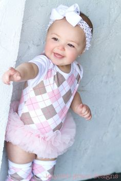 Pink Argyle Tutu Onesie...Even though this is pink, the preppy side of me loves this. I might just make my future daughter wear something like this. Haha!