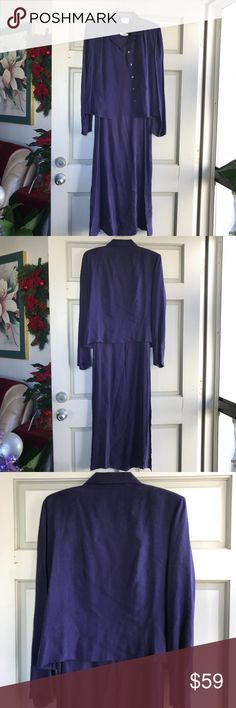 Beautiful Purple Maxi Dress + Jacket Set From my mom's closet. Gorgeous dress and jacket set. Worn once for an event, then stored in closet in a clear garment bag. Liz Claiborne sizes run slightly larger than the typical according to my mom. Liz Claiborne Dresses Maxi