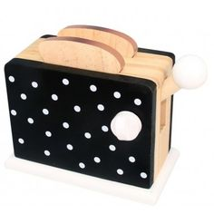 Spotty Black Wooden Toaster $17 / @woodentoyshop.co.uk