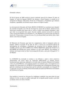carta-de-peticion by Asociación de Afectados por el Vuelo JK5022 via Slideshare