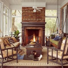 wood-burning fireplace in the porch