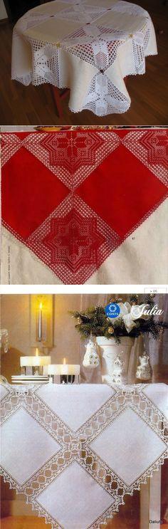 e95efd6c04a0 Красивые льняные скатерти из сочетания ткани и ажурного вязания - Сам себе  волшебник Юбки Из Дерева