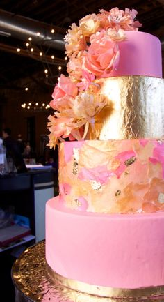 - Edible wafer paper and fondant wedding cake in pink and gold with edible gold leaf and hand made wafer paper flowers by The End Dessert Company, Powell, Ohio