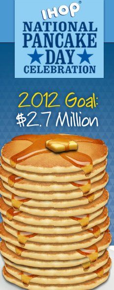 Free Pancakes at IHOP on Feb 28, 2012 for charity fundraiser event. Guests at participating locations around the country are invited to celebrate National Pancake Day at IHOP with a free short stack of buttermilk pancakes. One per guest, while supplies last. Donations are requested for Children's Miracle Network Hospitals and other local charities. Since 2006, IHOP has raised nearly 8 million for local charities with it's National Pancake Day celebration. - BetterBudgeting