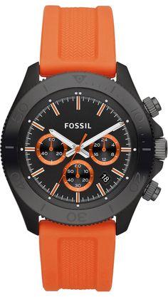 Fossil Watches, Men's Retro Traveler Chronograph Silicone Watch - Orange #CH2873