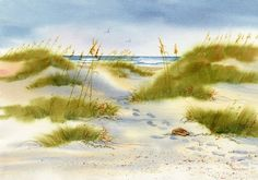 Flip flops left in the lee of a dune, warm sand induces a peaceful dreamy mood as you drift toward the ocean.This giclée print is printed on Arches hotpress watercolor paper with archival inks and is backed with matboard and enclosed in a clearbag.