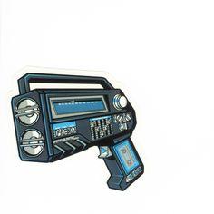 #1181 Radio Gun , Width 8 cm, decal sticker - DecalStar.com