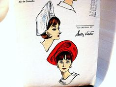 1960s Vogue Womens Hat Pattern Designer SALLY VICTOR Misses size Vintage Sewing Pattern by PatternsFromThePast