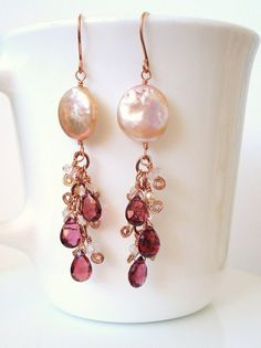 Details about  /Sterling Silver 925 Double Briolette Pink Chalcedony Drop Dangle Necklace 18/'/'